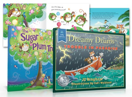 children's book design page and book cover design examples