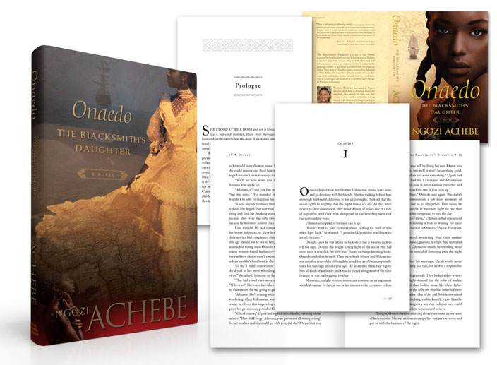 Period novel book page and bookcover design example