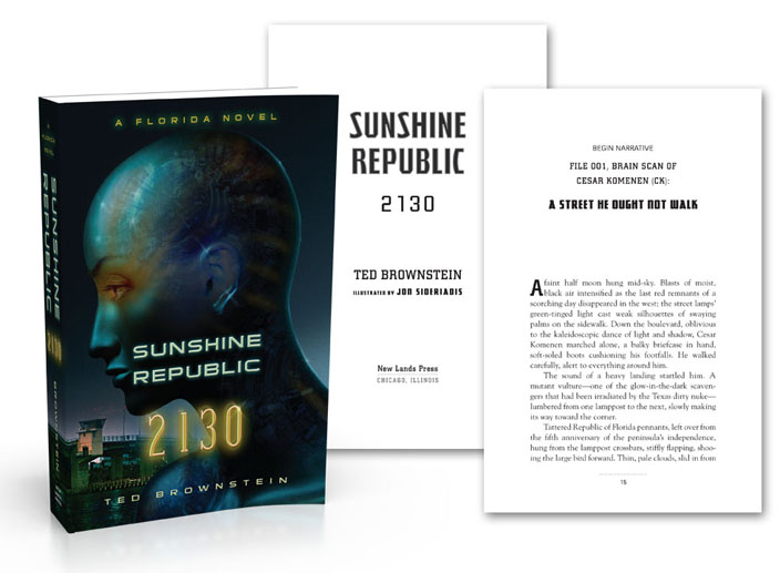 Science fiction page and bookcover design example