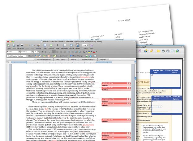 Images showing the track changes feature in Microsoft Word